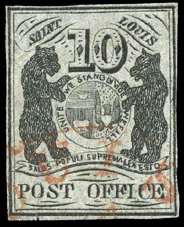 US Stamp Values Scott Cat. # 11X8 - 1846 10c St Louis Postmasters Provisional. Matthew Bennett International, Mar 2011, Sale 336, Lot 1097