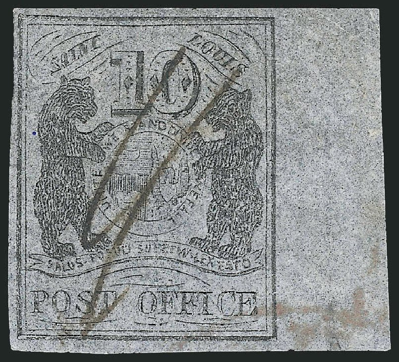 US Stamp Values Scott Cat. 11X8 - 10c 1846 St Louis Postmasters Provisional. Robert Siegel Auction Galleries, Sep 2010, Sale 993, Lot 17