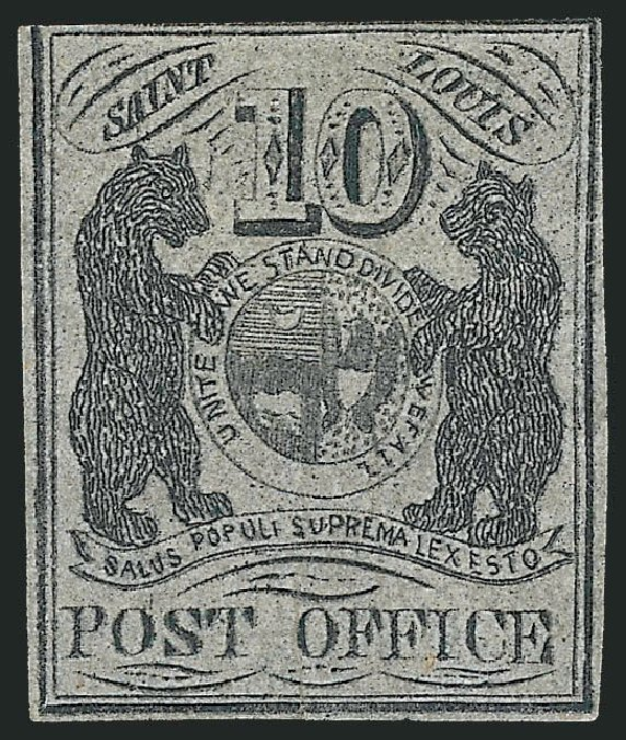 Costs of US Stamps Scott Catalogue 11X8: 10c 1846 St Louis Postmasters Provisional. Robert Siegel Auction Galleries, Jun 2011, Sale 1010, Lot 8