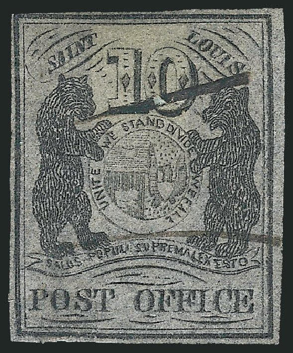 US Stamps Values Scott Catalogue # 11X8: 10c 1846 St Louis Postmasters Provisional. Robert Siegel Auction Galleries, Dec 2013, Sale 1062, Lot 25