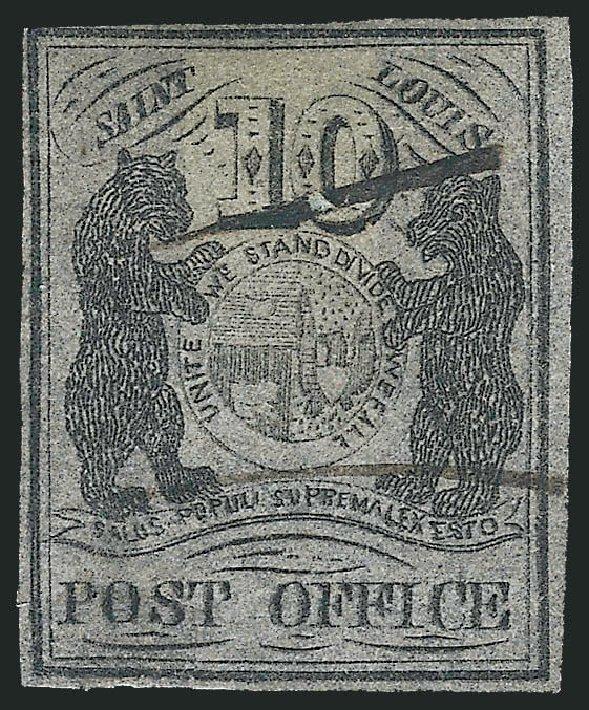 US Stamps Values Scott Catalogue # 11X8: 10c 1846 St Louis Postmasters Provisional. Robert Siegel Auction Galleries, Dec 2013, Sale 1062, Lot 25