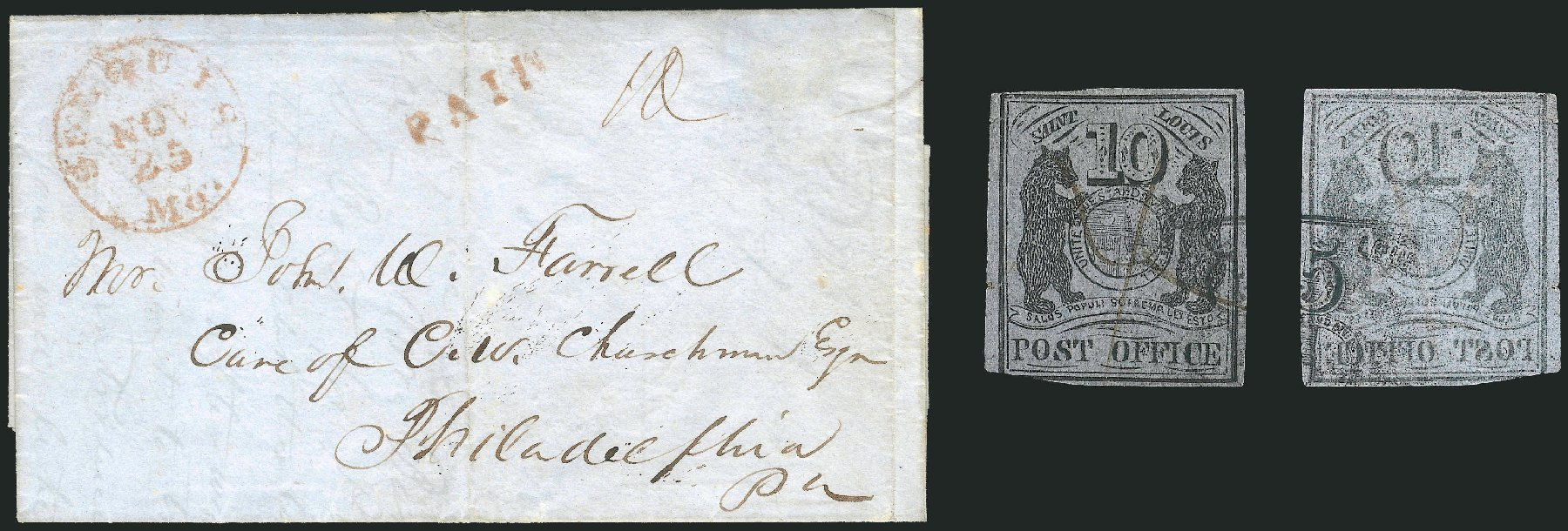 Prices of US Stamp Scott Catalog #11X8: 1846 10c St Louis Postmasters Provisional. Robert Siegel Auction Galleries, Sep 2010, Sale 993, Lot 12