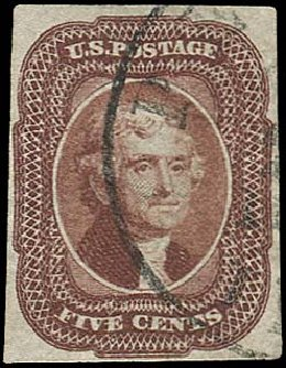US Stamp Value Scott Catalogue # 12 - 5c 1856 Jefferson. Regency-Superior, Aug 2015, Sale 112, Lot 77