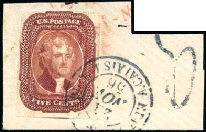 Values of US Stamps Scott Cat. # 12: 1856 5c Jefferson. Schuyler J. Rumsey Philatelic Auctions, Apr 2015, Sale 60, Lot 1947
