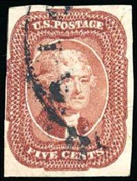 US Stamp Prices Scott Catalog # 12: 1856 5c Jefferson. Schuyler J. Rumsey Philatelic Auctions, Apr 2015, Sale 60, Lot 1948