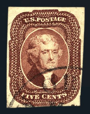 Price of US Stamps Scott Catalogue 12 - 1856 5c Jefferson. Harmer-Schau Auction Galleries, Aug 2015, Sale 106, Lot 1299