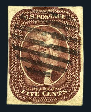 US Stamp Price Scott Catalogue 12 - 5c 1856 Jefferson. Harmer-Schau Auction Galleries, Aug 2015, Sale 106, Lot 1300
