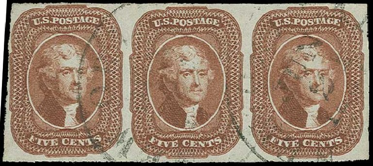 US Stamps Price Scott Cat. 12 - 1856 5c Jefferson. H.R. Harmer, Jun 2015, Sale 3007, Lot 3104