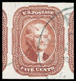 US Stamp Value Scott #12 - 5c 1856 Jefferson. Schuyler J. Rumsey Philatelic Auctions, Apr 2015, Sale 60, Lot 1944
