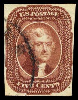 US Stamps Prices Scott Catalog #12: 1856 5c Jefferson. Daniel Kelleher Auctions, May 2015, Sale 669, Lot 2415