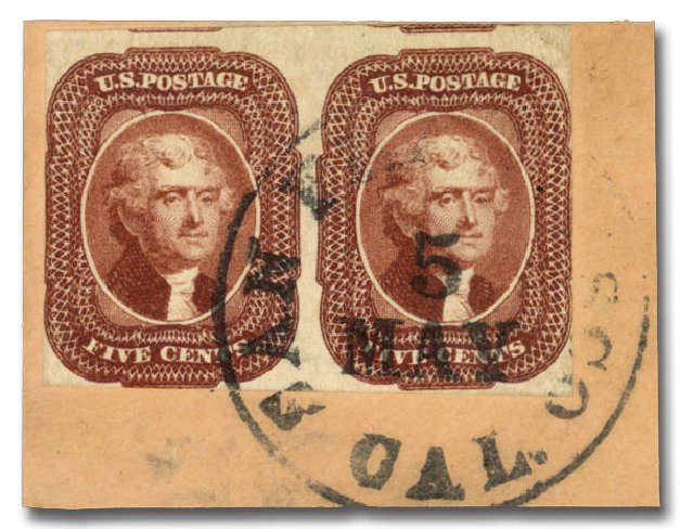 Price of US Stamp Scott Catalog #12 - 5c 1856 Jefferson. Daniel Kelleher Auctions, Aug 2015, Sale 672, Lot 2145
