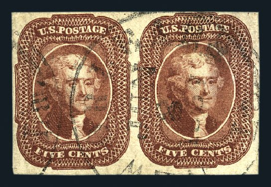 US Stamp Values Scott Catalog # 12: 5c 1856 Jefferson. Harmer-Schau Auction Galleries, Aug 2015, Sale 106, Lot 1302