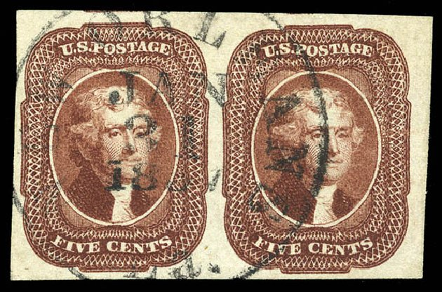 Values of US Stamps Scott Cat. # 12: 1856 5c Jefferson. Matthew Bennett International, Feb 2015, Sale 351, Lot 33