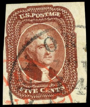 Prices of US Stamps Scott # 12 - 5c 1856 Jefferson. Daniel Kelleher Auctions, Aug 2015, Sale 672, Lot 2146