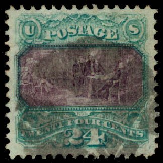 US Stamps Price Scott Catalog #120: 1869 24c Pictorial Declaration. Daniel Kelleher Auctions, Aug 2015, Sale 672, Lot 2358