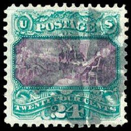 Values of US Stamp Scott #120 - 24c 1869 Pictorial Declaration. Schuyler J. Rumsey Philatelic Auctions, Apr 2015, Sale 60, Lot 2108