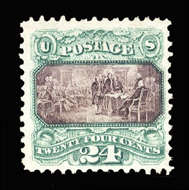 US Stamps Price Scott Catalogue # 120: 1869 24c Pictorial Declaration. Cherrystone Auctions, May 2015, Sale 201505, Lot 19