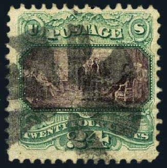 Values of US Stamp Scott Catalog # 120: 1869 24c Pictorial Declaration. Harmer-Schau Auction Galleries, May 2015, Sale 105, Lot 121