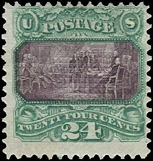 Cost of US Stamps Scott Catalogue 120: 1869 24c Pictorial Declaration. Regency-Superior, Aug 2015, Sale 112, Lot 271