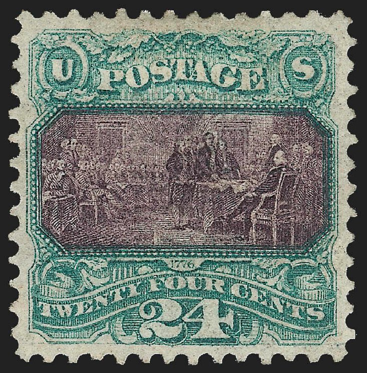 Cost of US Stamp Scott Catalogue # 120: 24c 1869 Pictorial Declaration. Robert Siegel Auction Galleries, Jul 2015, Sale 1107, Lot 241