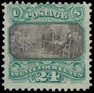 Value of US Stamp Scott 120 - 1869 24c Pictorial Declaration. H.R. Harmer, Jun 2015, Sale 3007, Lot 3195