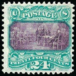 US Stamp Prices Scott Cat. # 120 - 24c 1869 Pictorial Declaration. Schuyler J. Rumsey Philatelic Auctions, Apr 2015, Sale 60, Lot 2105