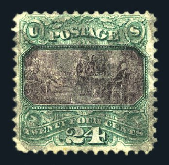 Value of US Stamp Scott Catalog # 120: 1869 24c Pictorial Declaration. Harmer-Schau Auction Galleries, Aug 2015, Sale 106, Lot 1472