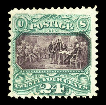 Value of US Stamps Scott Catalog 120 - 24c 1869 Pictorial Declaration. Cherrystone Auctions, Jul 2015, Sale 201507, Lot 2053