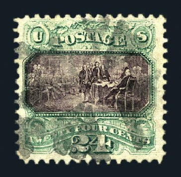 Value of US Stamps Scott Catalog #120: 24c 1869 Pictorial Declaration. Harmer-Schau Auction Galleries, Aug 2015, Sale 106, Lot 1473