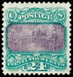 Costs of US Stamps Scott Catalog 120 - 24c 1869 Pictorial Declaration. Schuyler J. Rumsey Philatelic Auctions, Apr 2015, Sale 60, Lot 2106