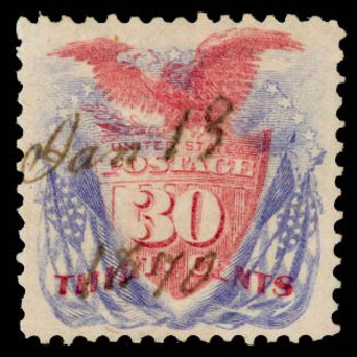 Value of US Stamp Scott #121 - 1869 30c Pictorial Shield Eagle Flags. Daniel Kelleher Auctions, Aug 2015, Sale 672, Lot 2365