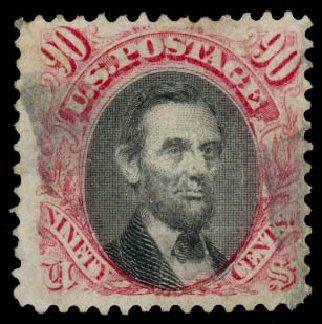 US Stamps Price Scott Catalog 122 - 90c 1869 Pictorial Lincoln. Daniel Kelleher Auctions, Aug 2015, Sale 672, Lot 2377