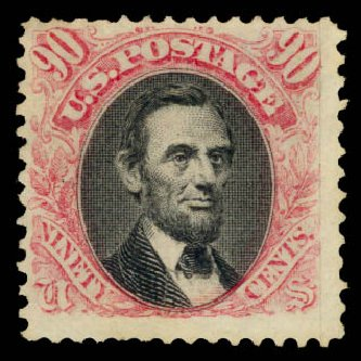 US Stamp Prices Scott 122 - 90c 1869 Pictorial Lincoln. Daniel Kelleher Auctions, Aug 2015, Sale 672, Lot 2368