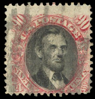 US Stamp Prices Scott Catalogue #122: 90c 1869 Pictorial Lincoln. Daniel Kelleher Auctions, Aug 2015, Sale 672, Lot 2378