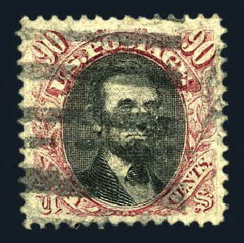 Prices of US Stamps Scott Cat. # 122 - 90c 1869 Pictorial Lincoln. Harmer-Schau Auction Galleries, Aug 2015, Sale 106, Lot 1479