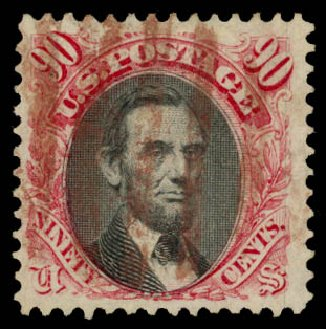 Costs of US Stamps Scott Catalog 122 - 1869 90c Pictorial Lincoln. Daniel Kelleher Auctions, Aug 2015, Sale 672, Lot 2369