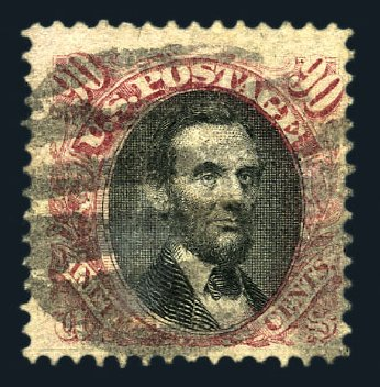 US Stamps Values Scott Cat. #122: 1869 90c Pictorial Lincoln. Harmer-Schau Auction Galleries, Aug 2015, Sale 106, Lot 1480