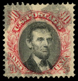 Price of US Stamps Scott Cat. #122: 90c 1869 Pictorial Lincoln. Daniel Kelleher Auctions, Aug 2015, Sale 672, Lot 2370