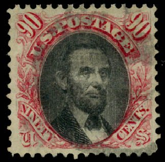Cost of US Stamps Scott Catalog #122: 90c 1869 Pictorial Lincoln. Daniel Kelleher Auctions, Aug 2015, Sale 672, Lot 2374