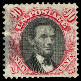 Cost of US Stamps Scott #122: 90c 1869 Pictorial Lincoln. Daniel Kelleher Auctions, Aug 2015, Sale 672, Lot 2375