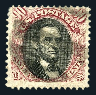 Values of US Stamps Scott #122 - 1869 90c Pictorial Lincoln. Harmer-Schau Auction Galleries, Aug 2015, Sale 106, Lot 1482