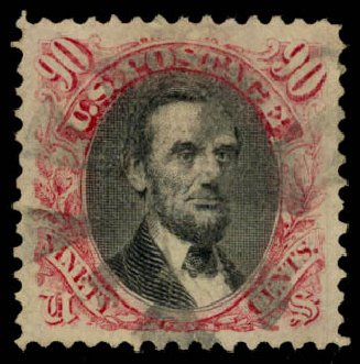 US Stamp Values Scott Cat. #122: 90c 1869 Pictorial Lincoln. Daniel Kelleher Auctions, Aug 2015, Sale 672, Lot 2372