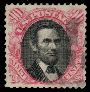 Prices of US Stamp Scott Catalogue #122: 90c 1869 Pictorial Lincoln. Daniel Kelleher Auctions, Aug 2015, Sale 672, Lot 2373