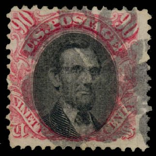 US Stamp Prices Scott Cat. 122 - 90c 1869 Pictorial Lincoln. Daniel Kelleher Auctions, Aug 2015, Sale 672, Lot 2376