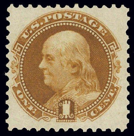 Values of US Stamps Scott Catalog # 123: 1c 1875 Pictorial Re-issue Franklin. Daniel Kelleher Auctions, Feb 2013, Sale 634, Lot 97