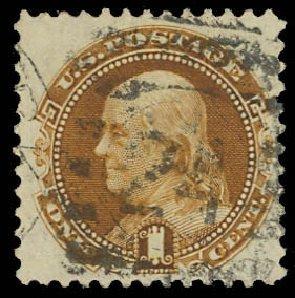 US Stamps Value Scott Cat. #123: 1c 1875 Pictorial Re-issue Franklin. Daniel Kelleher Auctions, Oct 2012, Sale 632, Lot 1048