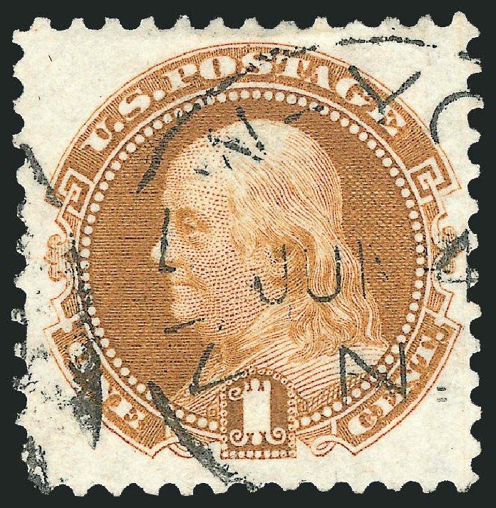 US Stamp Prices Scott # 123: 1c 1875 Pictorial Re-issue Franklin. Robert Siegel Auction Galleries, Jul 2013, Sale 1050, Lot 258