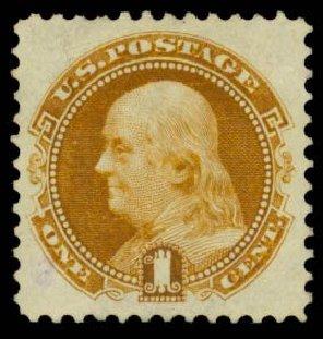Value of US Stamp Scott Cat. 123: 1875 1c Pictorial Re-issue Franklin. Daniel Kelleher Auctions, Sep 2013, Sale 639, Lot 1049