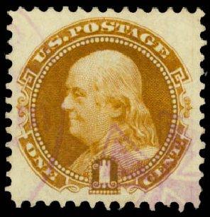 Value of US Stamp Scott Cat. # 123 - 1c 1875 Pictorial Re-issue Franklin. Daniel Kelleher Auctions, Aug 2015, Sale 672, Lot 2379