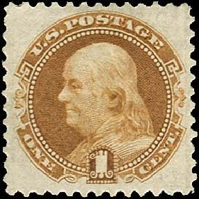 US Stamps Values Scott Catalogue #123: 1875 1c Pictorial Re-issue Franklin. Regency-Superior, Nov 2014, Sale 108, Lot 299